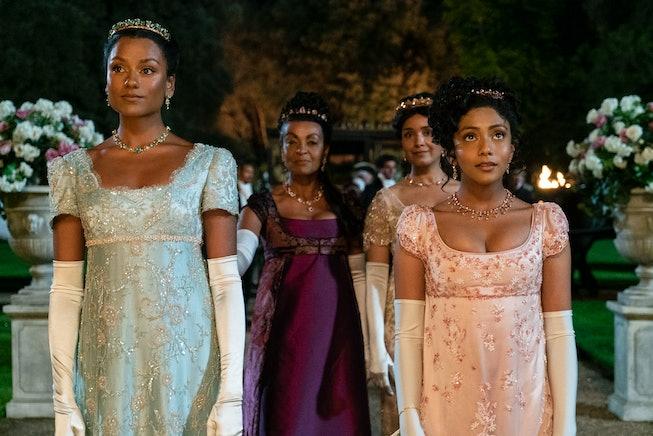 Bridgerton. (L to R) Simone Ashley as Kate Sharma, Adjoa Andoh as Lady Danbury, Shelley Conn as Mary...