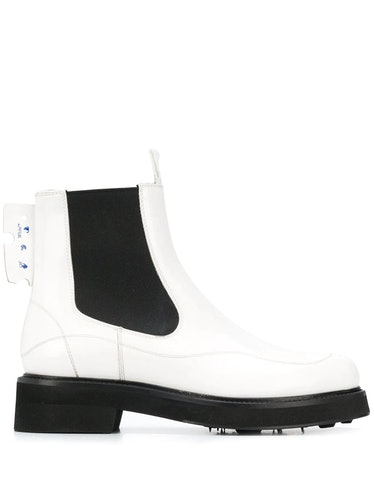 Off-White's white logo-patch chelsea boots.