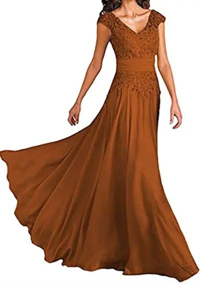 Women's Long V-Neck Cap Sleeve Gown