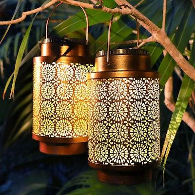 YMING Solar Lantern Waterproof Hanging Lanterns (2-Pack)