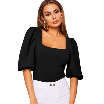 Romwe Puff Sleeve Square Neck Top