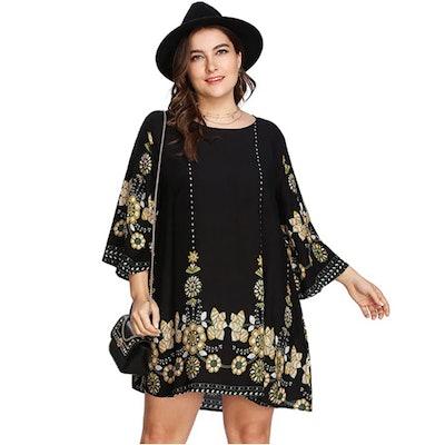 Romwe Plus Size Bohemian Dress