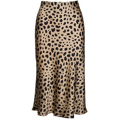 Soowalaoo Satin Leopard Midi Skirt