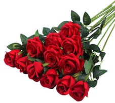 Hawesome 12PCS Artificial Silk Flowers Realistic Roses