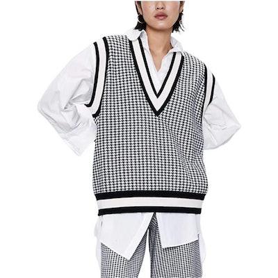 SAFRISIOR Oversized Houndstooth Knitted Vest