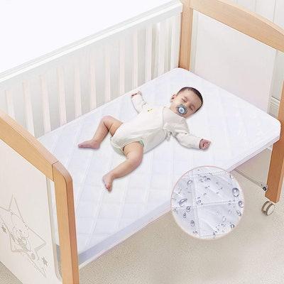 Yoofoos Waterproof Fitted Crib Mattress Protector Pad