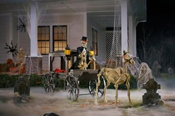 Halloween decoration; Skeleton driving carriage with skeleton horse