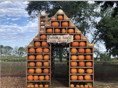 a house made out of pumpkins at Happy Day Farm in New Jersey