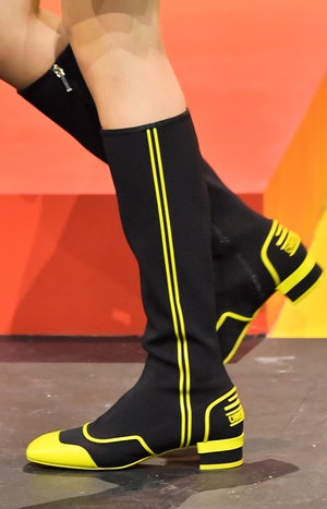 A model (shoes detail) walks the runway during the Dior Womenswear Spring/Summer 2022 show as part o...