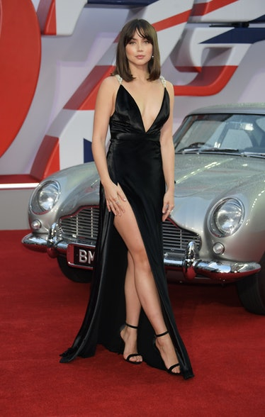 Ana de Armas with leg slit dress.