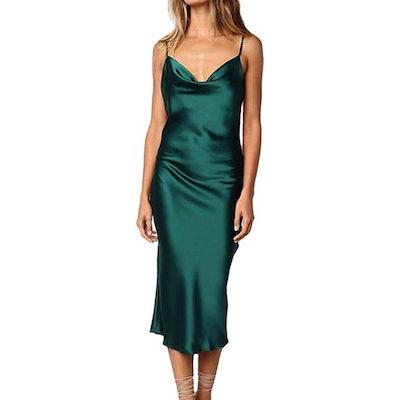 xxxiticat Satin Cocktail Midi Dress