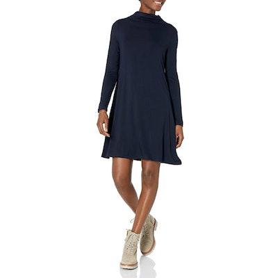 Daily Ritual Jersey Mock-Neck Swing Dress