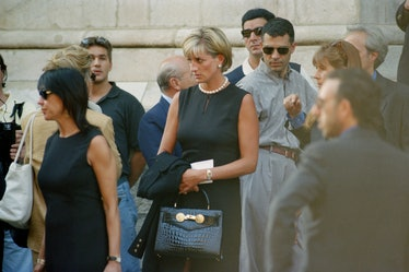 Lady Diana, Princess of Wales, attends the last tribute to Italian fashion designer Gianni Versace a...