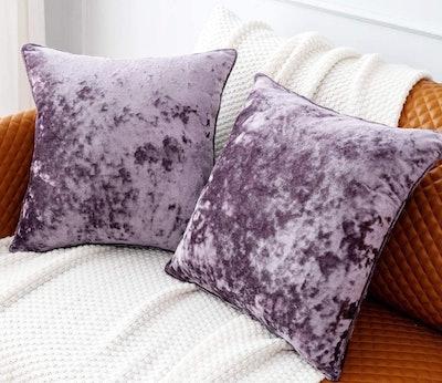 PANDATEX Crushed Velvet Throw Pillow Covers (2 Pack)