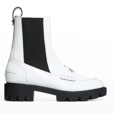 Christian Louboutin's white chelsea loafer boots.