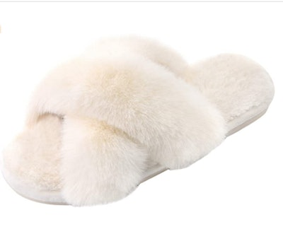 Parlovable Fuzzy Cross-Band Slippers