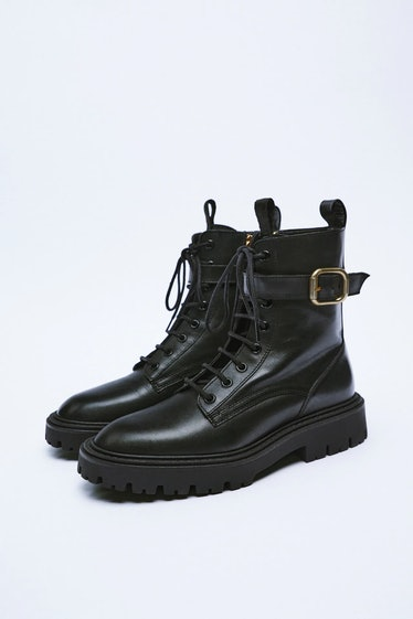 Laced Leather Combat Boots With Buckle
