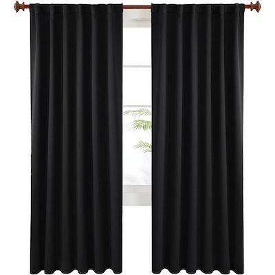 Deconovo Black Blackout Curtains