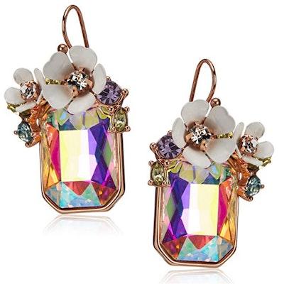 Betsey Johnson Flower Cluster Stone Drop Earrings