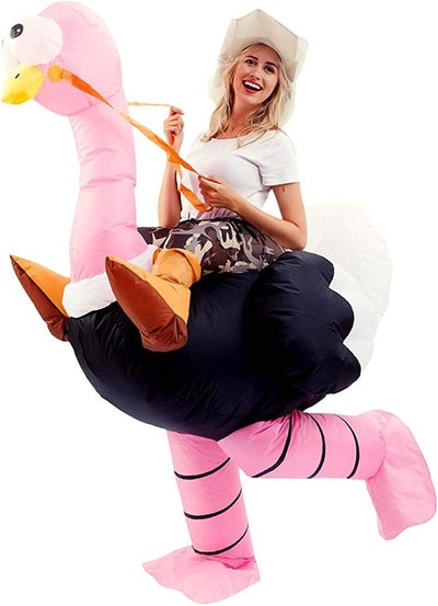 Spooktacular Creations Inflatable Costume Riding an Ostrich Air Blow-up Deluxe Halloween Costume - A...