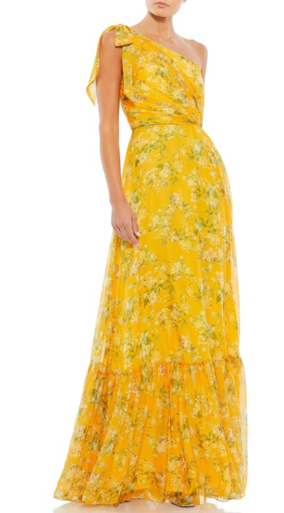 One-Shoulder Floral Print Chiffon A-Line Gown