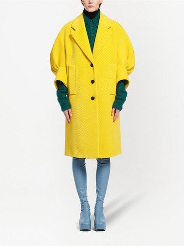 Corduroy Puff-Sleeve Coat
