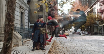Doctor Strange (Benedict Cumberbatch) separating Peter Parker's (Tom Holland) astral self from his p...