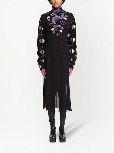 Jacquard Detail Midi Dress