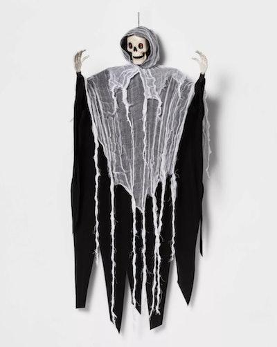 Hanging skeleton decoration; wearing black robe