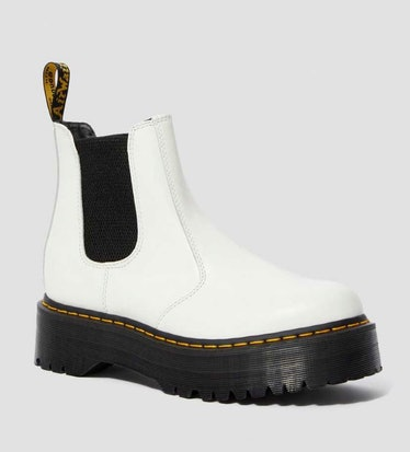 Dr. Marten's white 2976 leather chelsea boots.
