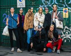 Models outside Marni fashion show