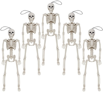Pack of five skeletons; Halloween decorations