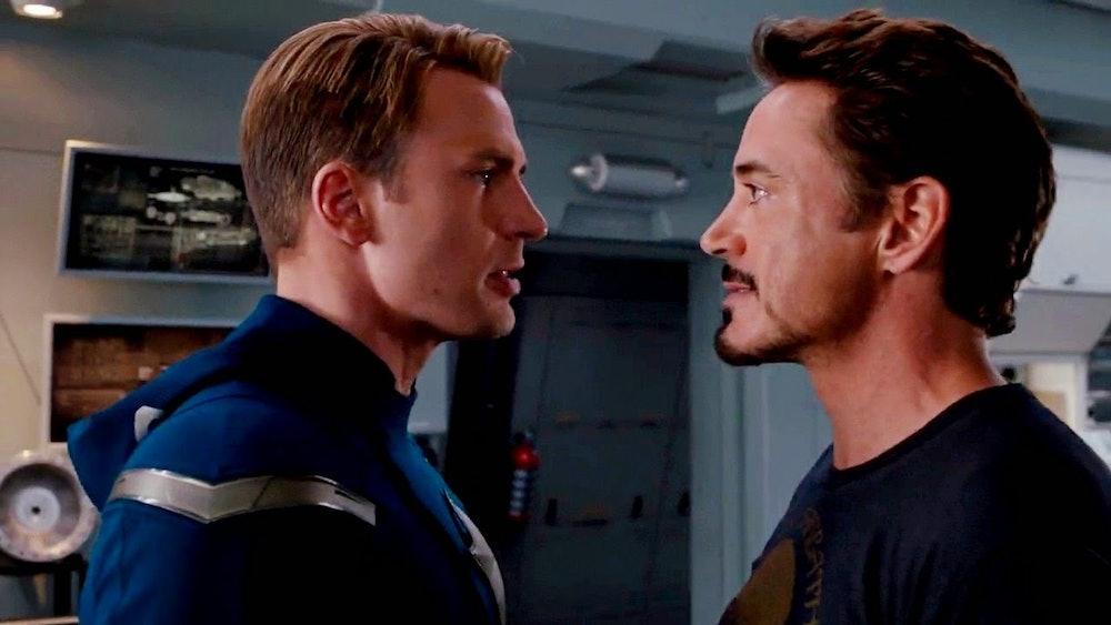 Steve Rogers and Tony Stark in The Avengers.