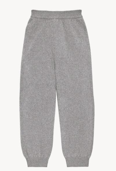 Flat lay of grey sweatpants