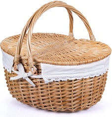 Wicker Picnic Basket with Lid and Handle