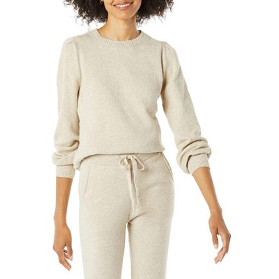Amazon Essentials Pleated Shoulder Crewneck Sweater