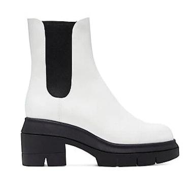 Stuart Weitzman's white chelsea boots.