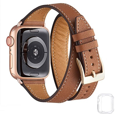 Bestig Rose Gold and Brown Genuine Leather Apple Watch Strap