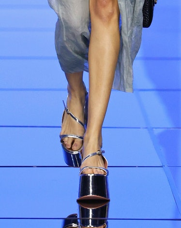 MILANO, ITALY – SEPTEMBER 22: A model walks the runway during the Del Core fashion show during Milan...