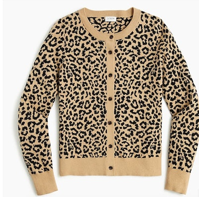 leopard print cardigan sweater with tan trim and brown buttons, from J. Crew Factory