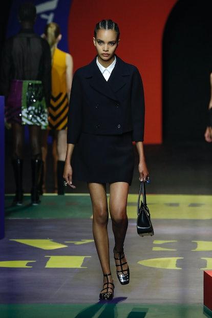 A model walks the runway during the Dior fashion show during Paris Women's Fashion Week Spring/Summe...