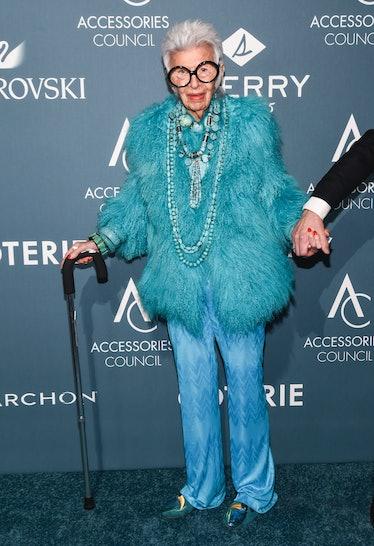 Iris Apfel wearing head-to-toe blue