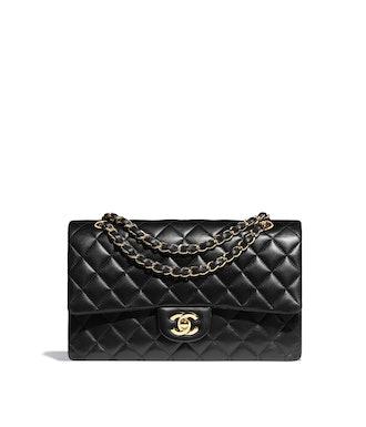 Classic double flap handbag in black lambskin from Chanel.