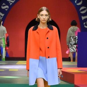 A model walks in Dior's Spring/Summer 2022 runway show.