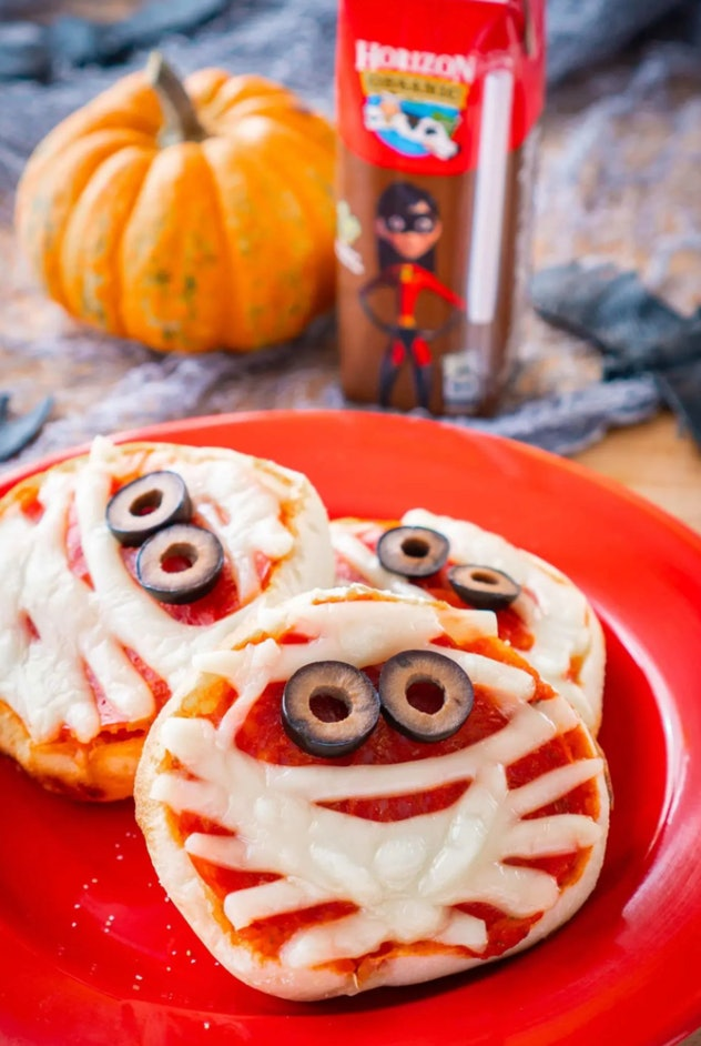 Miniature mummy pizza is one Halloween pizza idea to try.