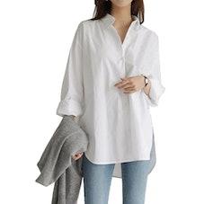 FHORSEA Plus Size Women Long Sleeve Button Down Shirt