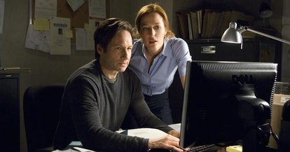 Fox Mulder (David Duchovny) and Dana Scully (Gillian Anderson) in The X Files.