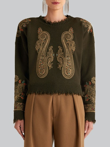 Jumper With Ornamental Paisley Embroidery