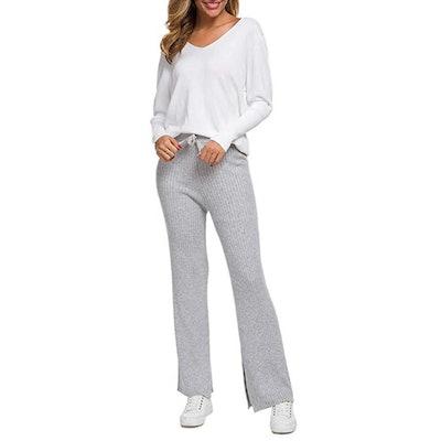 SANGTREE Women's Cashmere Wide-Leg Pants