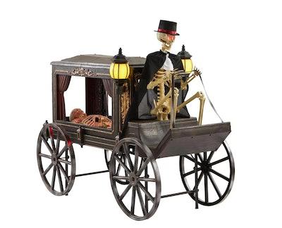 Skeleton driving carriage; Halloween decor